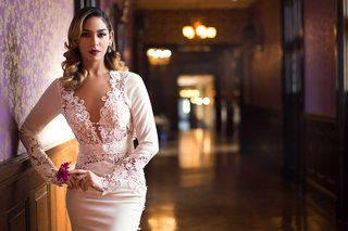bride-sultry-wedding-look-classic-vintage-berry-lipstick-berta-bridal-dress-styled-shoot-sleeves
