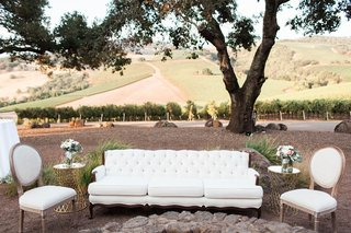 white-lounge-space-winery-venue-rustic-chic-wedding-northern-california-cocktail-hour-reception-idea