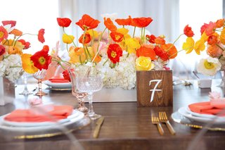 wood-table-with-square-wood-table-number-orange-and-yellow-poppy-flower-centerpiece-bridal-shower