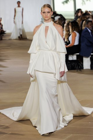 ines-di-santo-fall-2019-bridal-collection-wedding-dress-lark-cold-shoulder-peplum-jacket-halter