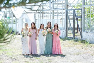 wedding-ceremony-santa-barbara-area-rustic-boho-chic-mismatched-bridesmaid-dresses-pink-green-white