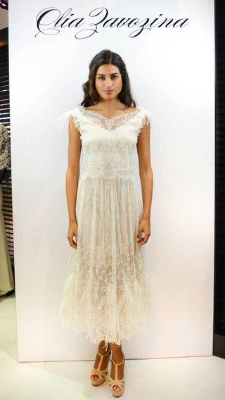 olia-zavozina-spring-2017-mira-tea-length-wedding-dress-lace-ostrich-feather-details-cap-sleeves