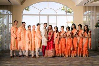 indian-wedding-party-bride-and-groom-in-lehnga-sherwani-sari