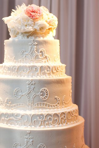 white-wedding-cake-with-a-lace-design-and-fresh-flowers