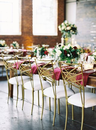 wedding-reception-glam-modern-industrial-chic-brick-wall-white-gold-chameleon-chair-collection-chair