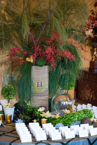 escort-card-table-covered-in-plants-and-succulents-rustic-reception