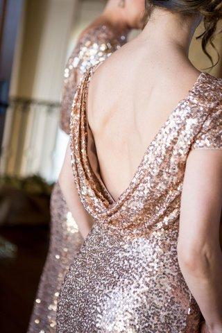 badgley-mischka-cowl-back-bridesmaid-dress-rose-gold-sequins-updo