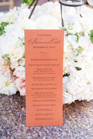 serving-station-wedding-menu-card-on-coral-paper