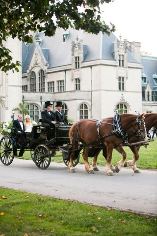 bride-and-father-of-bride-transported-to-wedding-ceremony-in-horse-drawn-carriage-with-men-top-hats