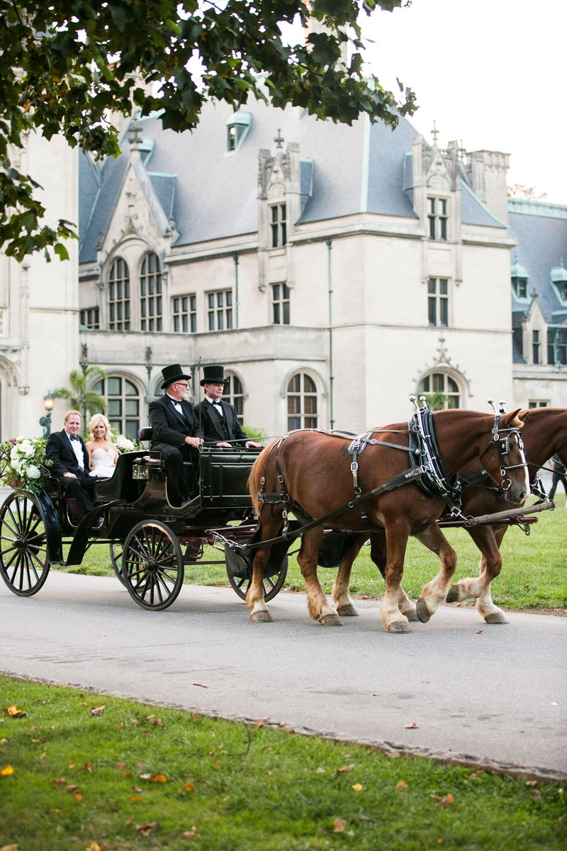 Bride and Father in Horse-Drawn Carriage
