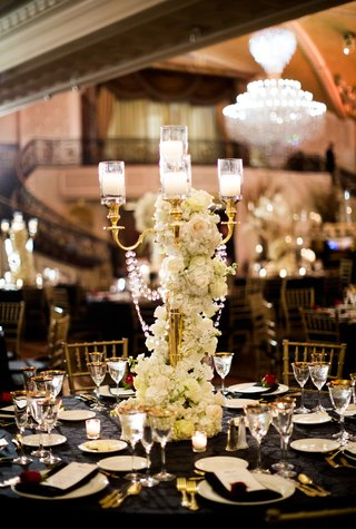 san-francisco-giants-joe-paniks-wedding-gold-candelabra-wrapped-with-crystals-and-flowers