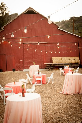 pink-cocktail-tables-on-rustic-lawn-outside-of-red-barn