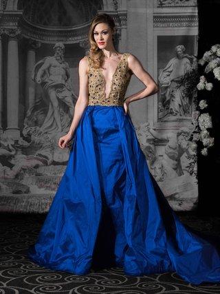 sarah-jassir-la-dolce-vita-2016-deep-v-neck-gold-and-blue-ball-gown-wedding-dress