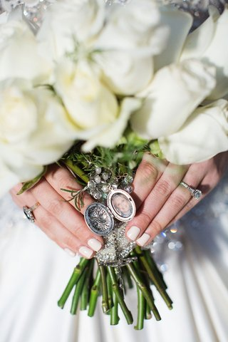 white-rose-wedding-bridal-bouquet-with-locket-photo-of-late-mother-manicure-cream