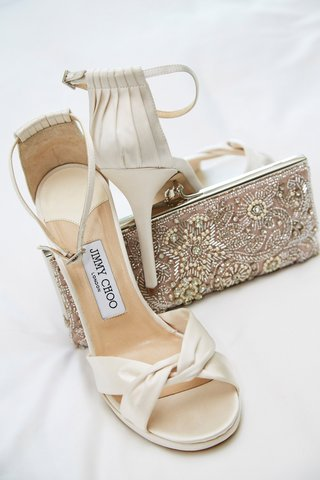 jimmy-choo-wedding-day-shoes-peep-toe-satin-ivory-ankle-strap-beaded-bag-clutch-silver-pink