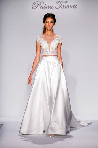 pnina-tornai-for-kleinfeld-2016-two-piece-wedding-dress-with-illusion-lace-bodice-and-satin-skirt