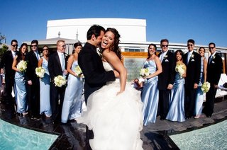 los-angeles-pool-wedding-bride-and-groom-with-guests
