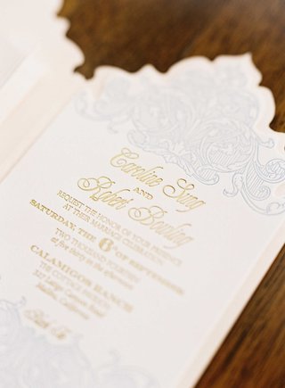 wedding-invitation-by-zenadia-design-with-gold-lettering-die-cut-stationery-and-light-blue-design