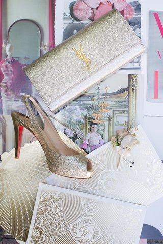 brides-gold-yves-saint-laurent-clutch-louboutin-slingback-vintage-chanel-earrings-necklace