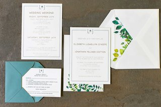 wedding-invitation-light-blue-envelope-yellow-green-foliage-envelope-liner-invitation-reply-card