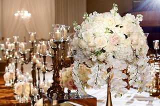 ceremony-aisle-decor-candelabra-and-tall-flower-arrangements-white-hydrangea-pink-rose-white-rose