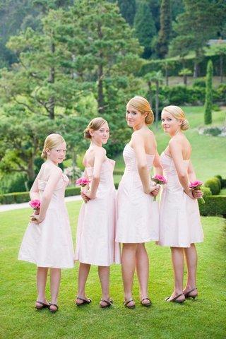light-pink-strapless-junior-bridesmaid-dresses