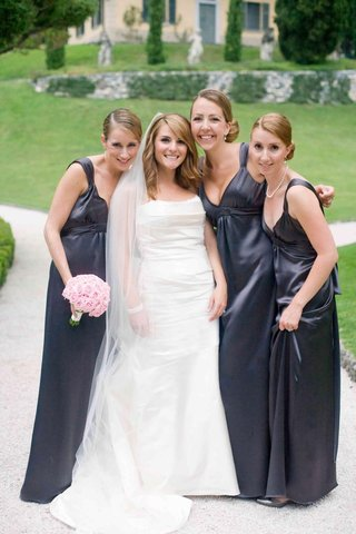 slate-grey-bridesmaid-dresses-and-white-bridal-gown