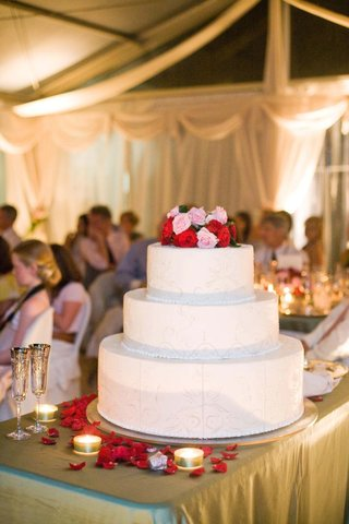 three-layer-wedding-cake-with-roses-on-top
