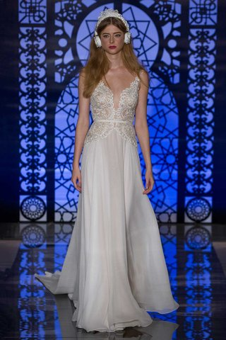 reem-acra-bridal-fall-2016-sheath-wedding-dress-with-deep-v-neck-and-embroidered-waist-and-bodice