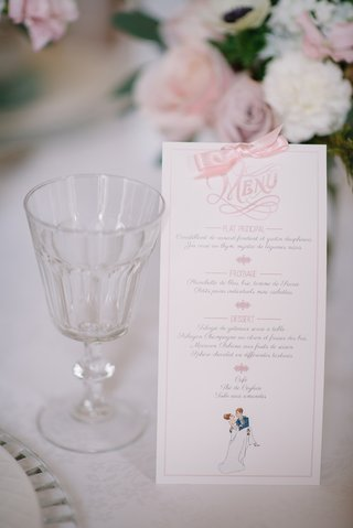 white-wedding-reception-menu-with-pink-bow-and-font