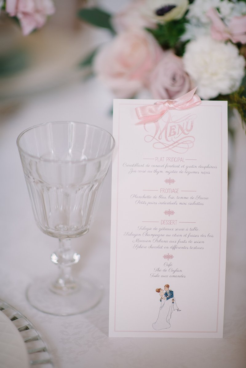French Bistro Wedding Menu With Bow