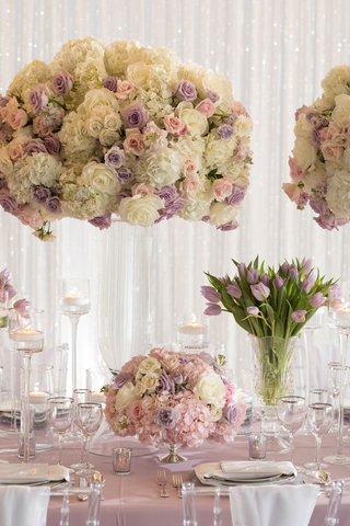 tall-flower-arrangement-with-white-hydrangea-rose-purple-pink-flowers-low-centerpiece-purple-tulips
