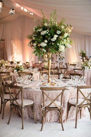 demarco-murray-wedding-tent-reception-lace-linen-tall-green-white-centerpiece-gold-vase