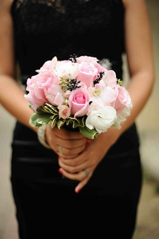 black-bridesmaid-dress-with-pale-pink-flowers