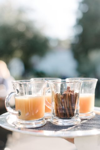fall-wedding-cocktail-hour-inspiration-warm-drink-in-glass-mug-cinnamon-sticks