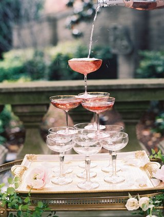 wedding-reception-cocktail-hour-his-and-hers-station-champagne-bar-rose-coupe-glass-tower