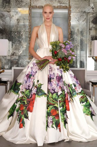 romona-keveza-wedding-dress-with-plunging-halter-neckline-and-red-purple-green-flower-print