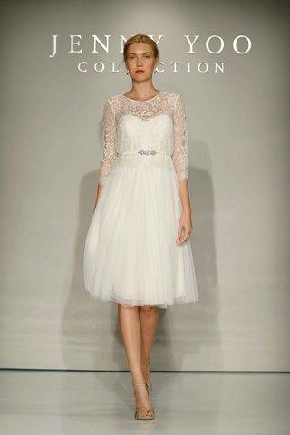 jenny-yoo-bridal-2016-tulle-short-wedding-dress-with-lace-sleeves