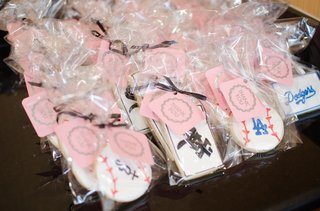 wedding-shower-cookie-favors-with-boston-white-sox-and-los-angeles-dodgers-logos
