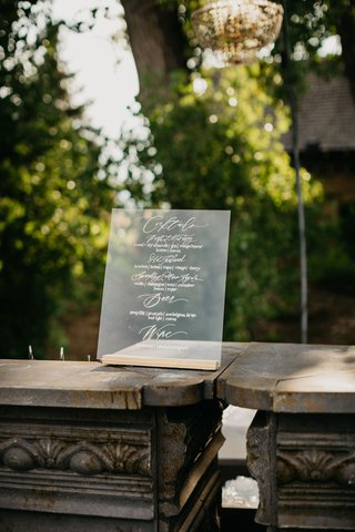wedding-reception-clear-lucite-acrylic-cocktail-menu-calligraphy-cocktails-old-fashioned-beer-wine