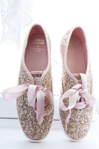 wedding-reception-shoes-kate-spade-new-york-glitter-keds-with-pink-ribbon-shoe-strings-ties-comfort