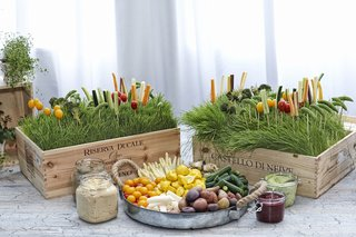 wood-boxes-filled-with-grass-and-veggies-on-toothpicks
