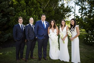 couple-smiling-2-two-bridesmaids-groomsmen-blue-suits-white-calla-lilies-rhode-island-wedding-east