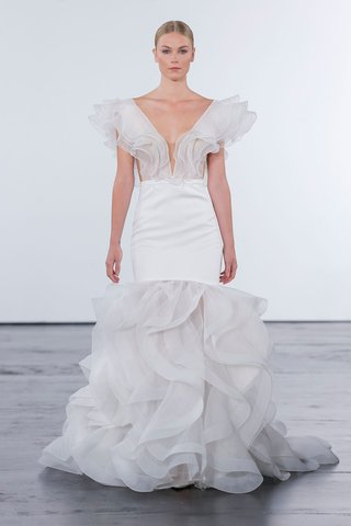 dennis-basso-for-kleinfeld-2018-collection-wedding-dress-ruffle-skirt-and-bodice-gown-satin-v-neck