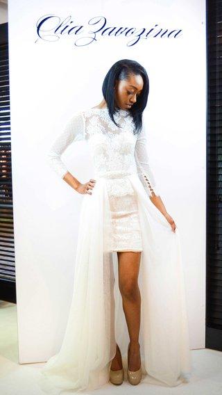 olia-zavozina-spring-2017-viola-short-wedding-dress-with-three-quarter-length-sleeves-and-overskirt
