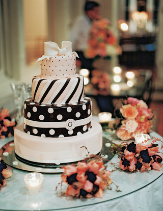 four-layer-pink-and-brown-cake-with-stripes-and-polka-dots