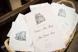 wedding-ceremony-programs-in-wicker-basket-grey-lettering-drawing-of-catholic-church-on-top
