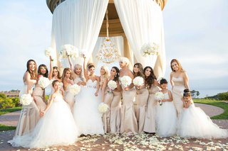 bride-bridesmaids-tan-colored-dresses-flower-girls-bouquets-pelican-hill-resort