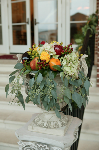 church-entrance-flower-and-fruit-wedding-flowers
