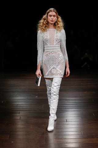 naeem-khan-bridal-fall-2017-lugano-short-mini-wedding-dress-embroidery-fringe-sleeves-flower-netting